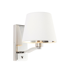 Bright Nickel Wall Light with White Shade