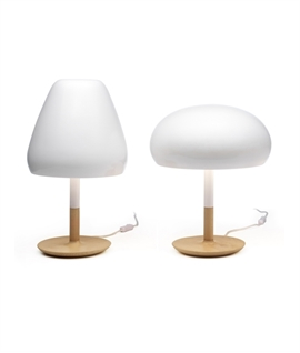 White Ceramic Glass & Oak Wood Base Table Lamp