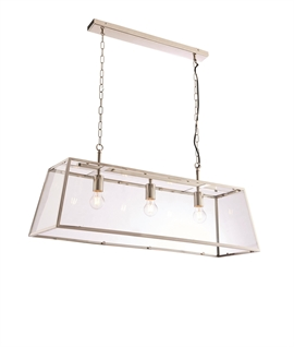 Glass Frame Bright Nickel Box Light - Width 950mm