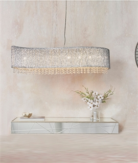Chrome & Crystal Wide Chandelier - 1120mm