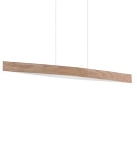 Wide Wood Pendant with LED Lamps