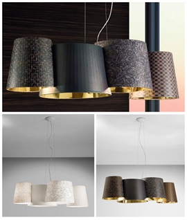 Linear Fabric Shade Cluster Pendant - Melting Pot