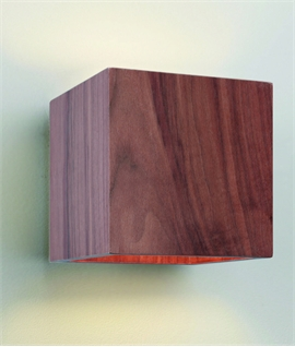 Walnut Finish Square Wall Light