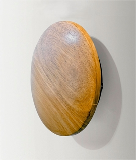 Round Wooden Flush LED Wall Light