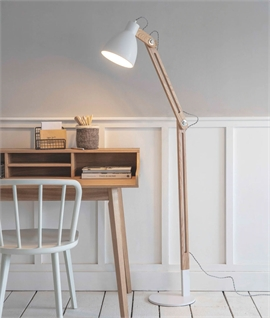 Modern Retro White & Wood Adjustable Floor Lamp
