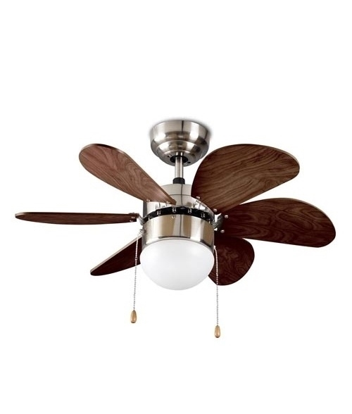 Wood Effect Fan With Lamp Reversible Blades And Pull