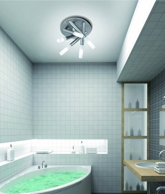 Decorative Bathroom Ceiling Lights : Brushed steel tubular bathroom ip light