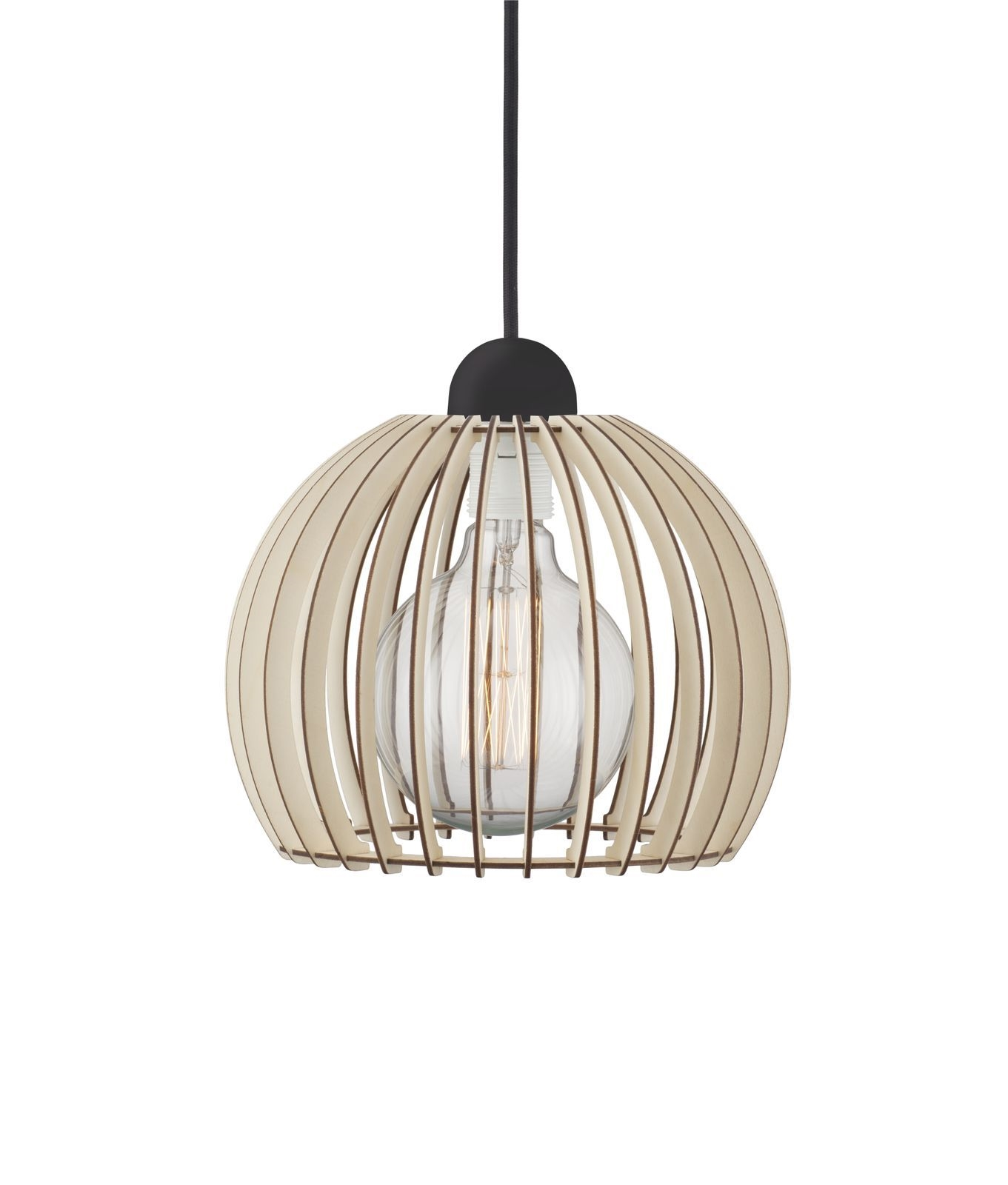 Curved Wooden Slatted Pendant With Black Flex Amp 3 Sizes