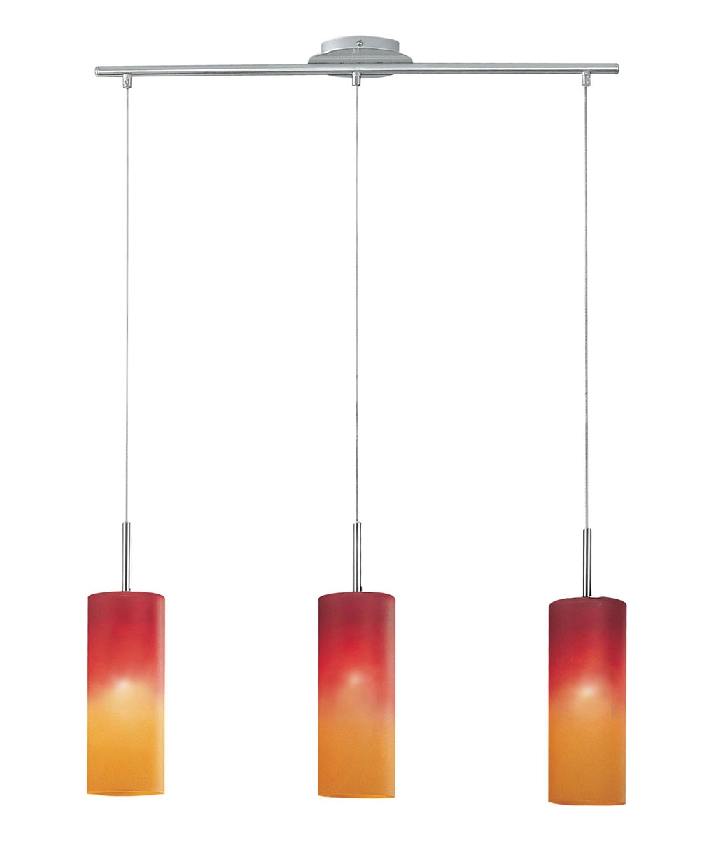 Red and Orange Glass Triple Ceiling Pendant