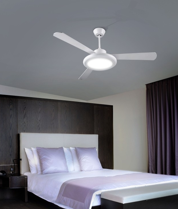 Chrome Or White Finish Ceiling Fan With Downwards Light And Reversible Blades
