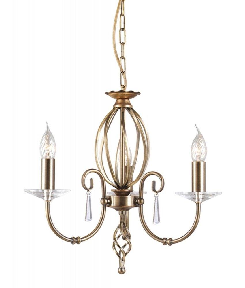 Cut Glass Droplet Chandelier In Aged Brass