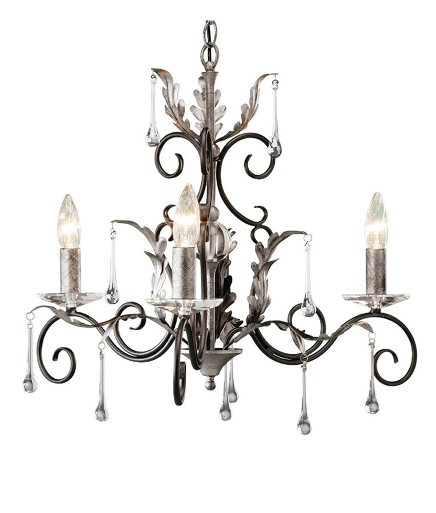 Decorative and ornate 3 light chandelier with droplets bronze gold or black silver finish aloadofball Choice Image
