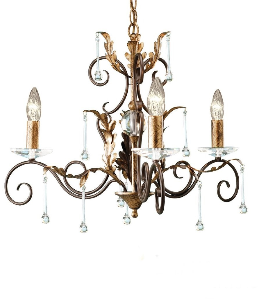 Outdoor Wall Lights Dunelm: Decorative And Ornate 3 Light Chandelier With Droplets