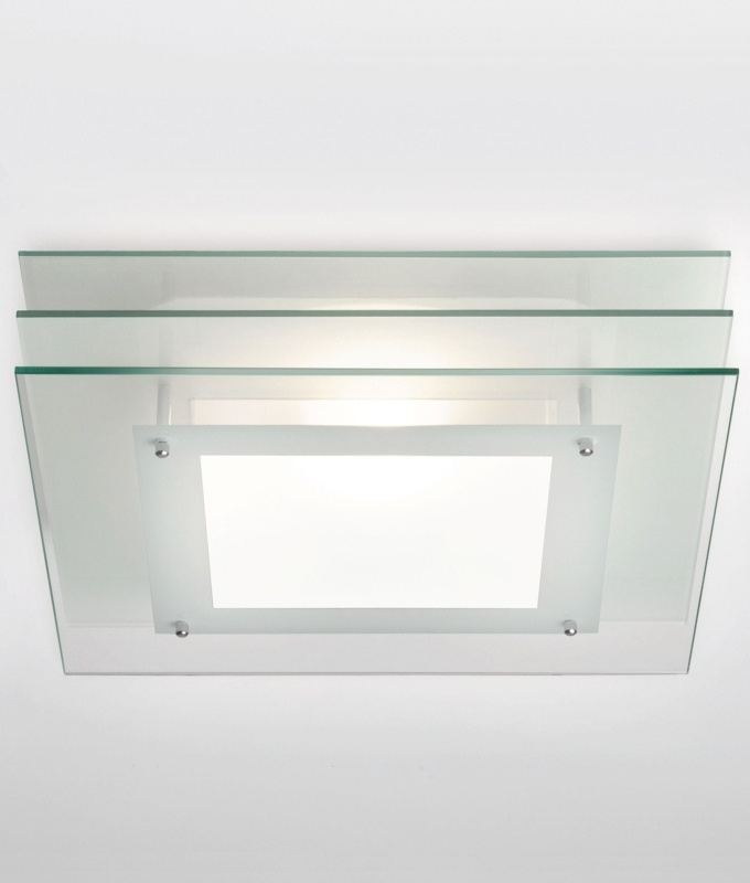 Square bathroom light with layered glass square light with layered glass 300mm mozeypictures Choice Image
