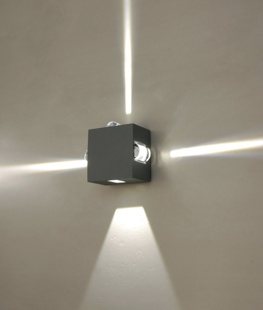 Wall luminaires with light emission on four sides led exterior optics can be reversed for 43 or 3 beam angles mozeypictures Gallery