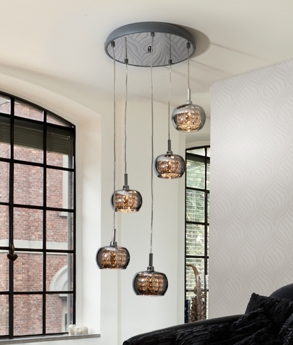 Preferred Long Drop LED Smoked Glass Pendant VJ65