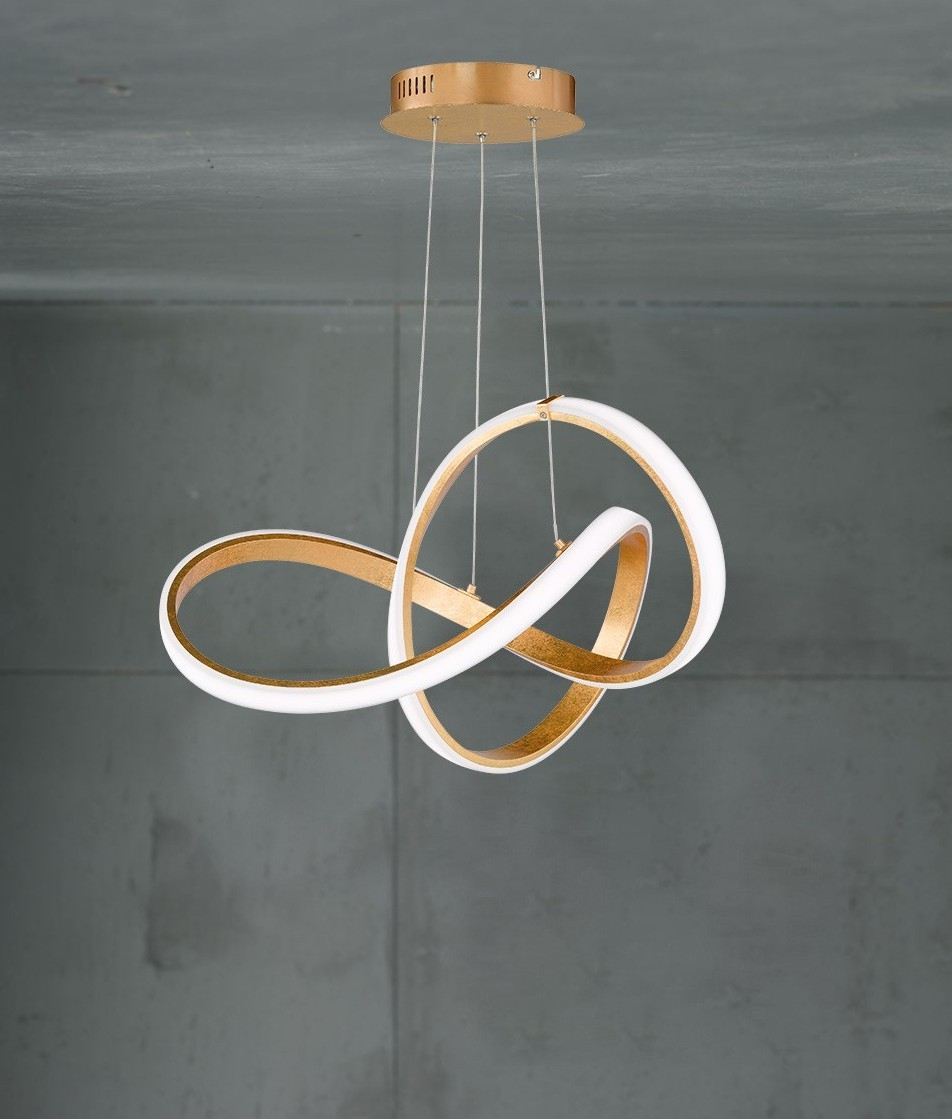 Mm Gold Twisted Swirl Led Pendant on Led Ceiling Light Installation
