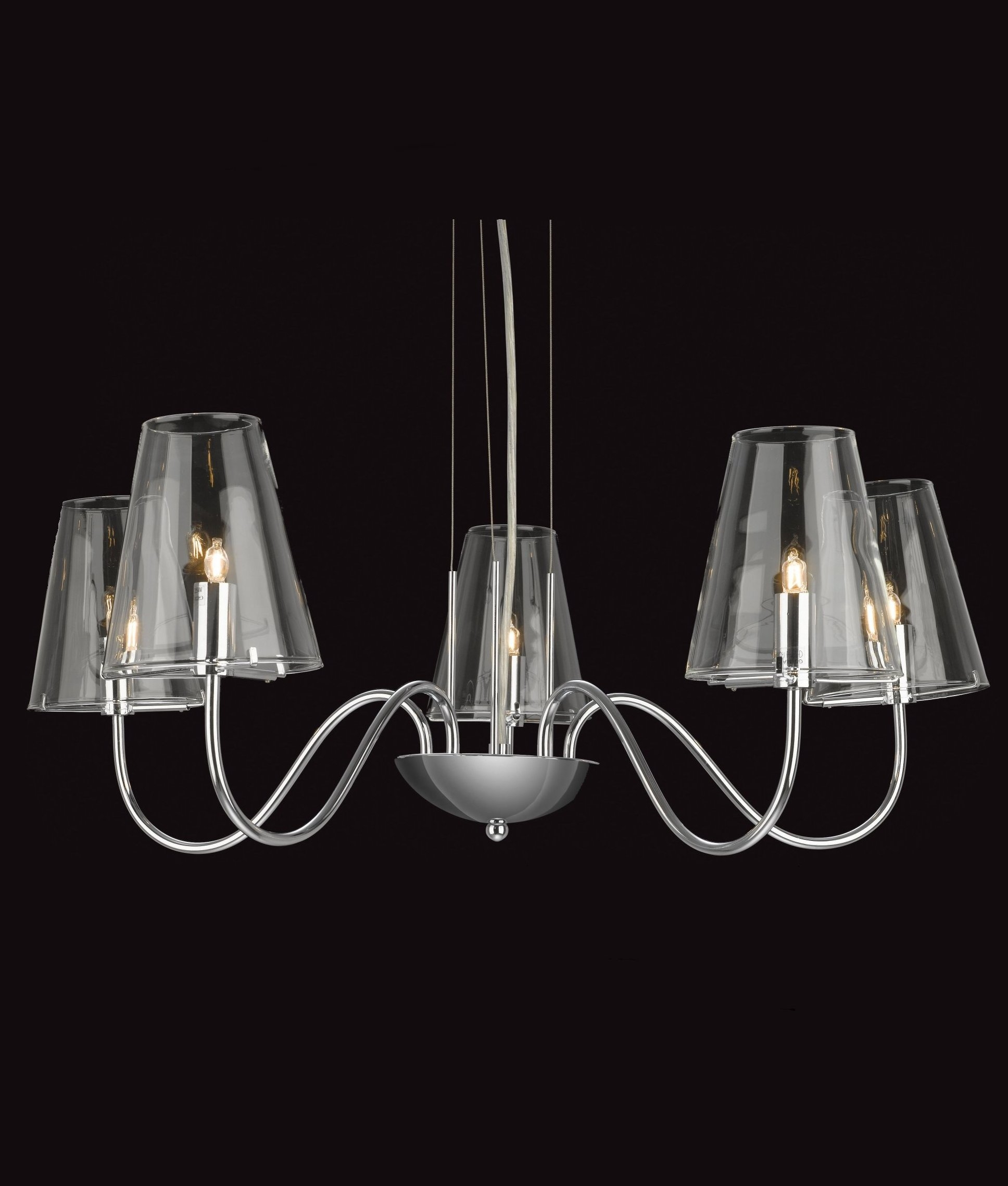 Chandelier Lighting Glass: Chandelier With Chrome & Clear Glass
