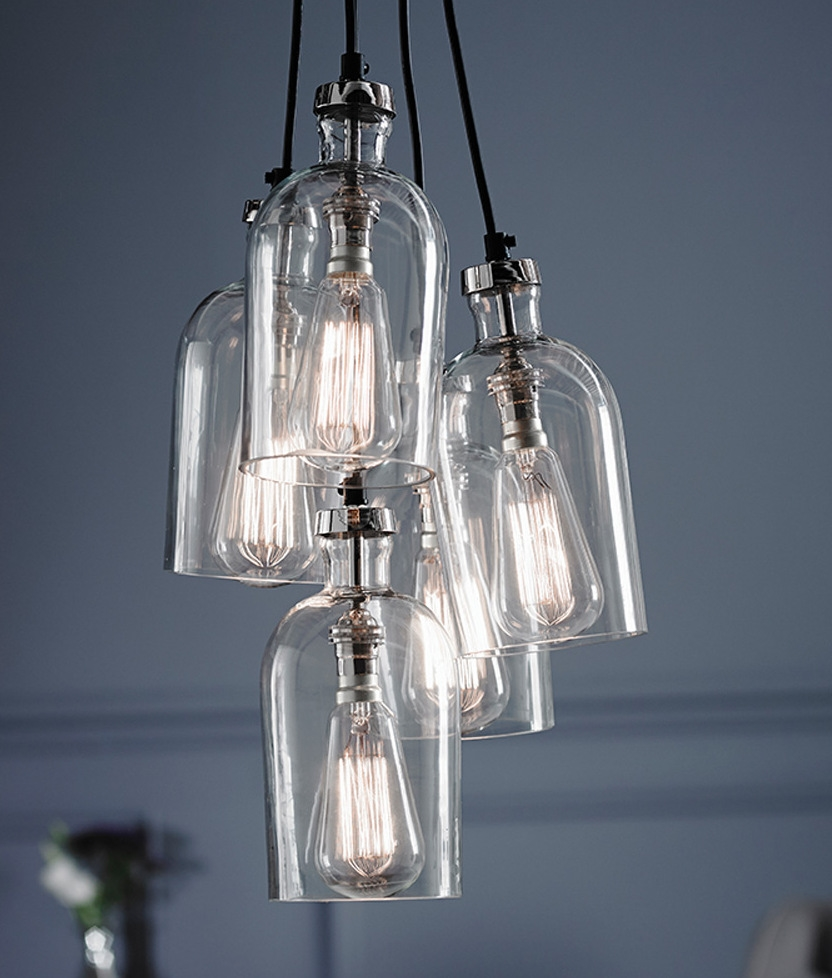 Clear Glass 5 Light Multi Pendant