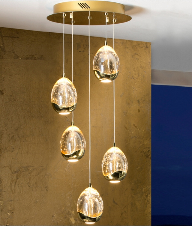 Chrome Or Gold Led Glass Ball Pendant With 5 Lights