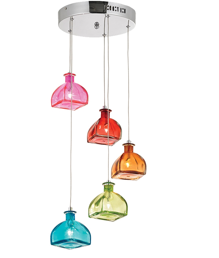 multi coloured bottle shade pendant. Black Bedroom Furniture Sets. Home Design Ideas