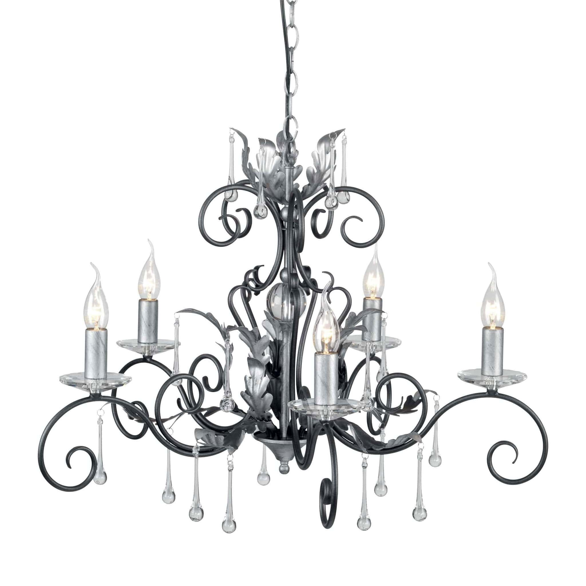 decorative chandelier with 5 arms  crystals  u0026 scrolls