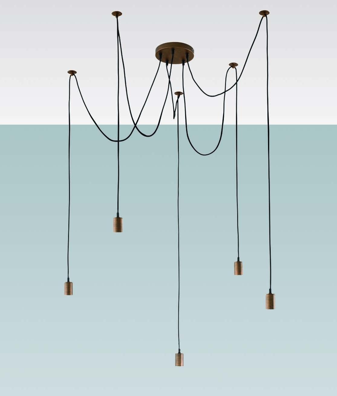 Minimalist Bare Bulb Pendant with 5 Lamps