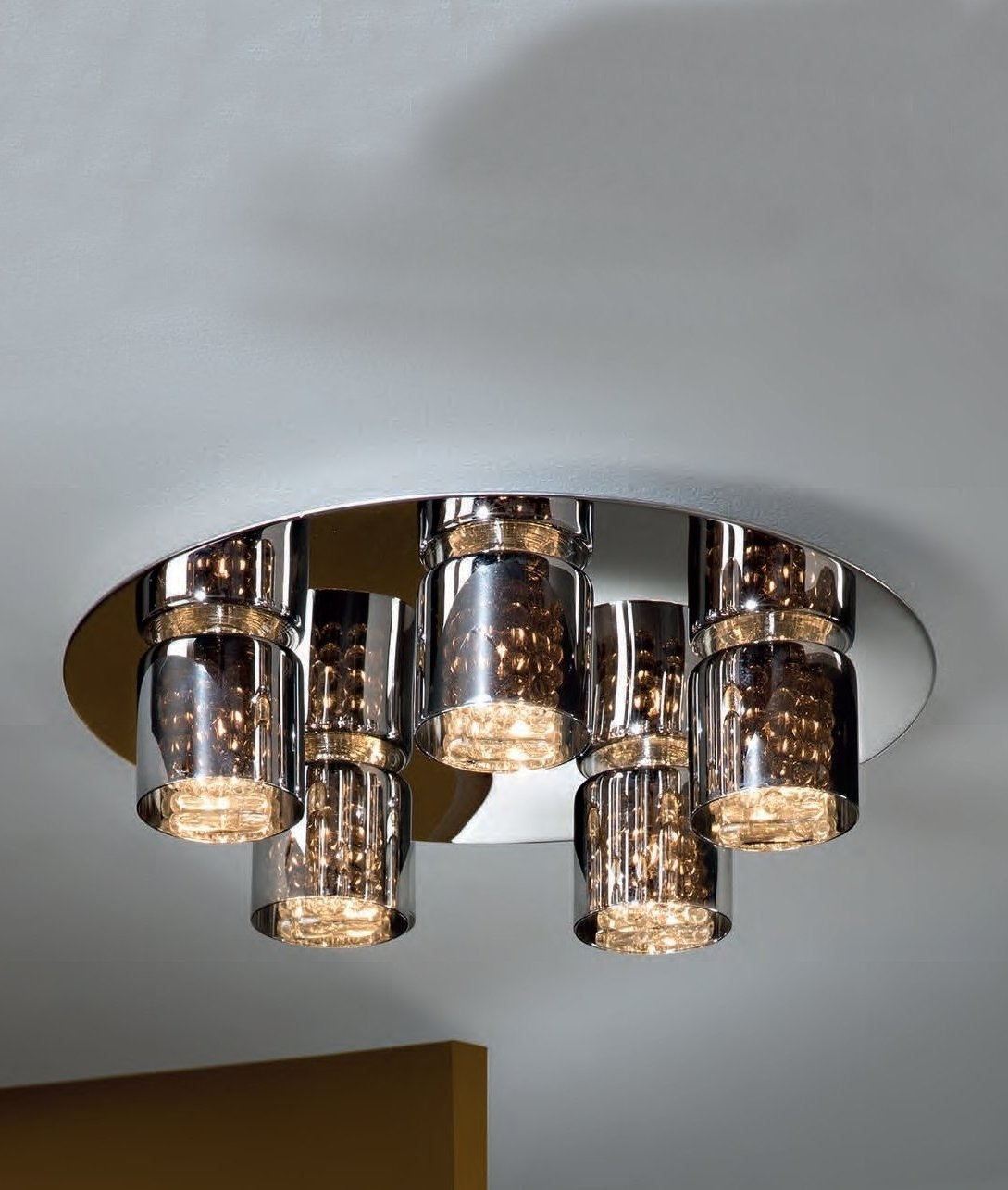 Wall Mounted Glass Lights : Flush Mounted Smoked Glass & Crystal 5 Light