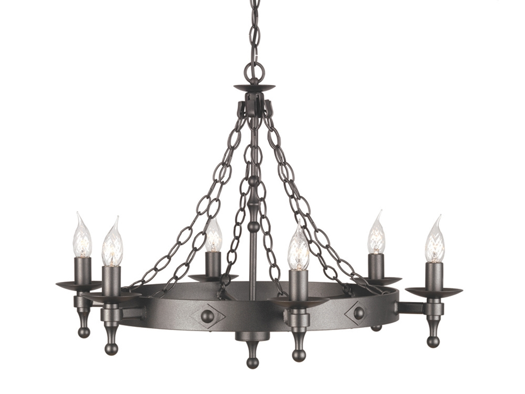 Chain Link Graphite Black Wrought Iron Chandelier
