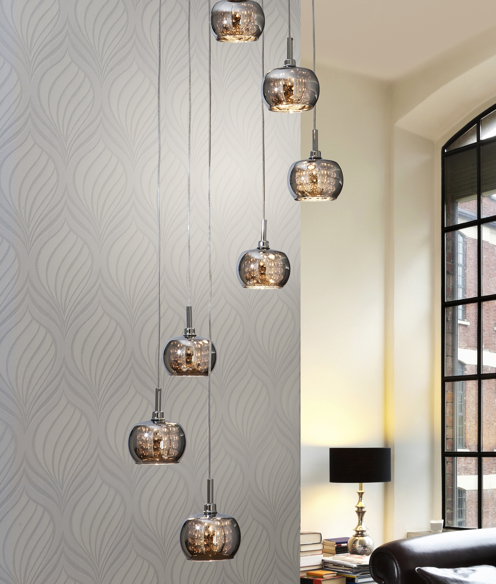 Long Pendant Lights: Long Drop LED Smoked Glass Pendant