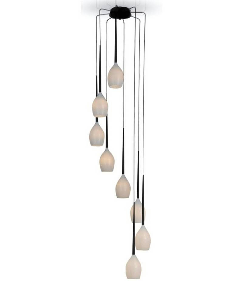 2600mm Long Suspended Eight Light Cluster Pendant In Four Colours Great For Atriums