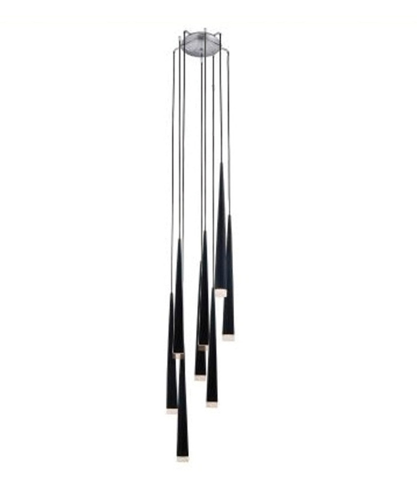 long pendant lighting. long drop fluted 8 shade light black white or chrome pendant lighting a
