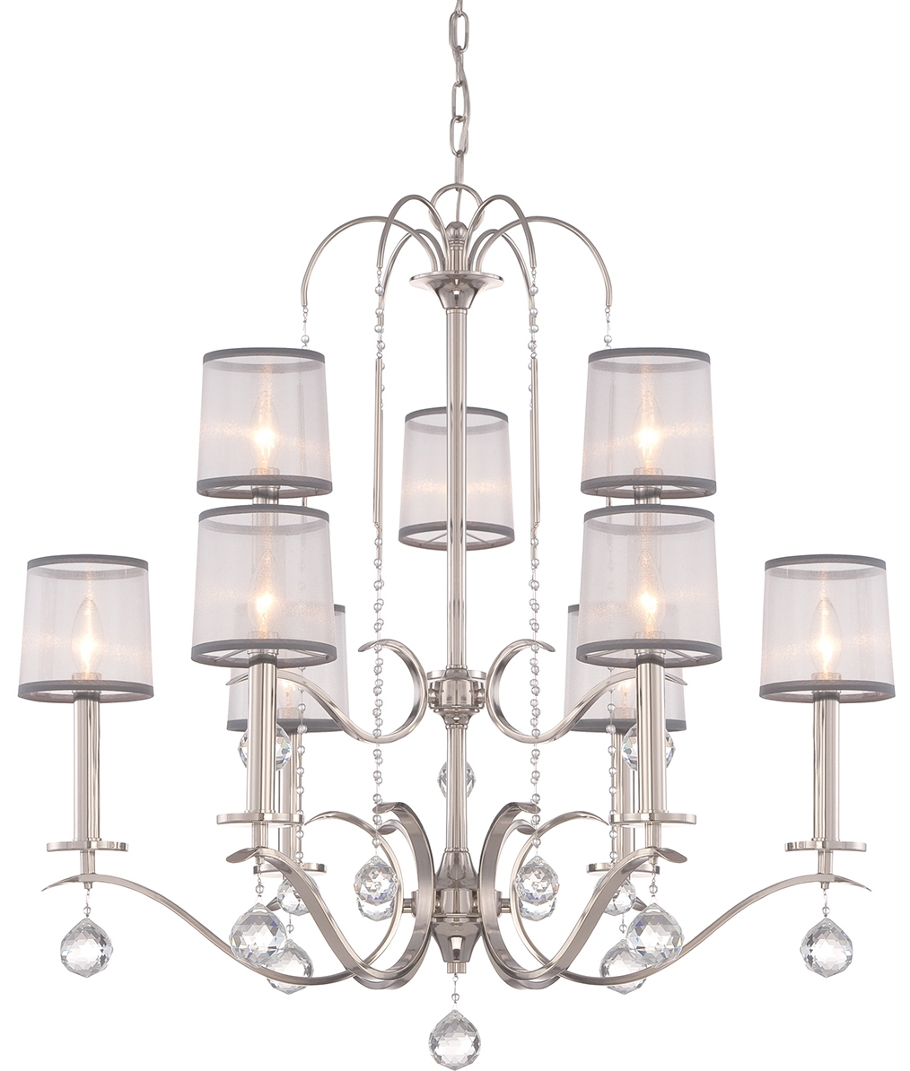 Silver Finish Chandelier With Crystal Droplets And Organza