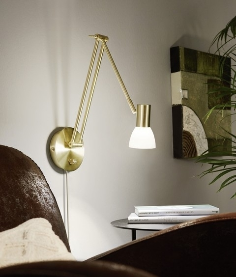 Adjustable anglepoise inspired wall light with glass shade brushed brass and nickel finishes mozeypictures