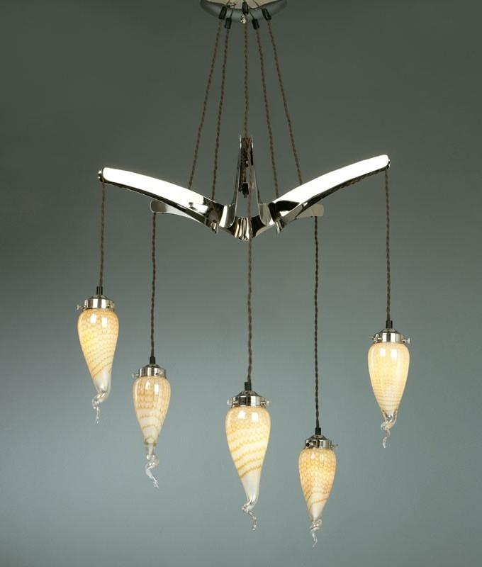 Art Glass 5 Arm Pendant Light