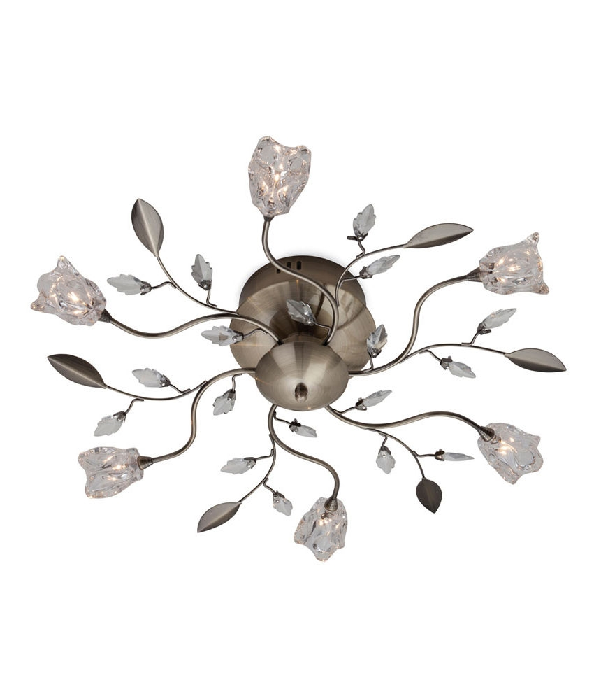 Crystal Flowers Ceiling Light O380mm Florentine Grey White