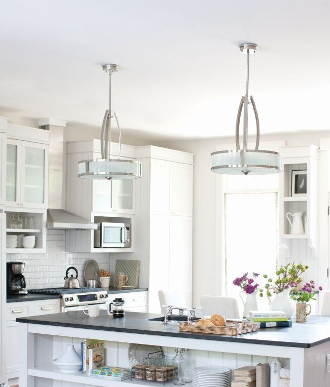 Art Deco Style Pendant In Brushed Nickel