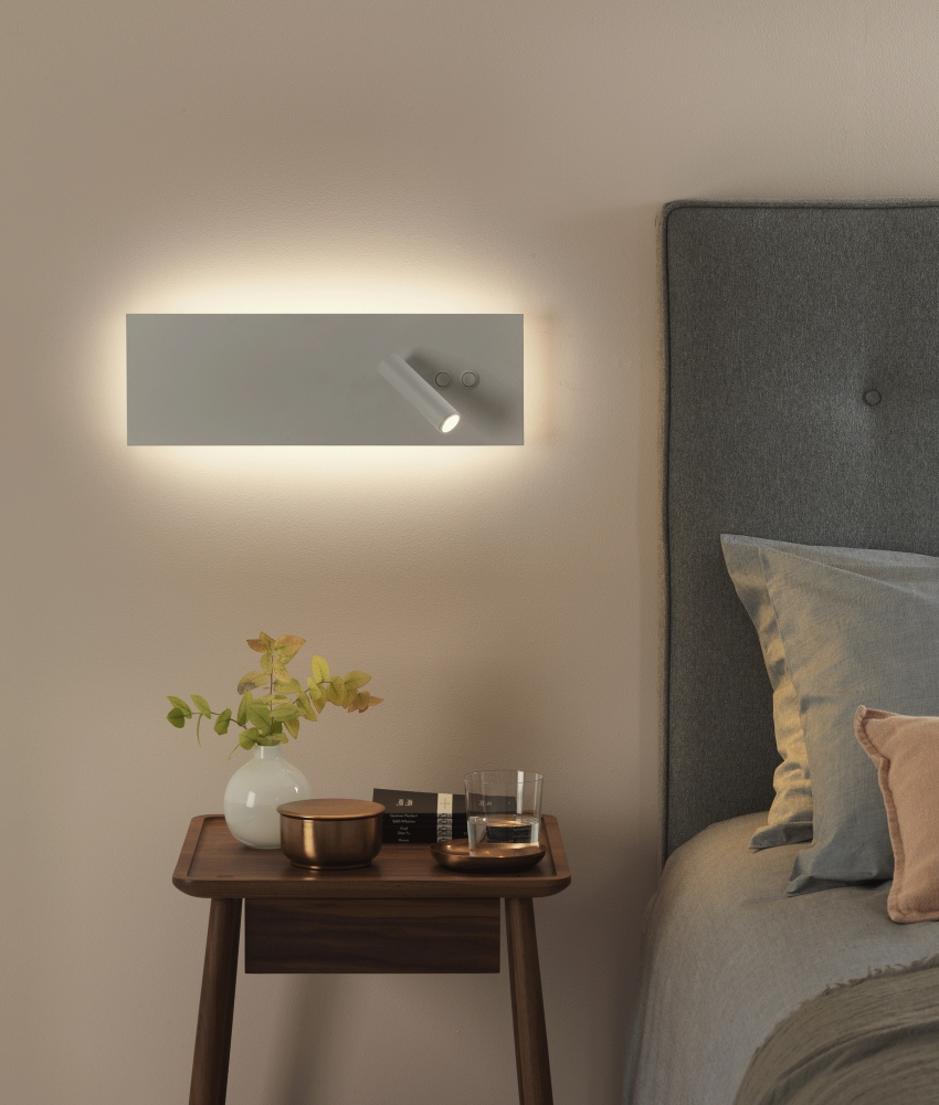 White Led Bedside Wall Light With Reading Light