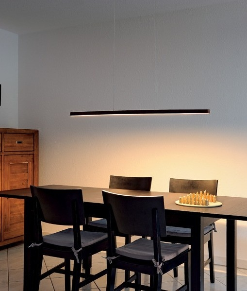 Bamboo And Steel Linear Led Pendant Energy Efficient