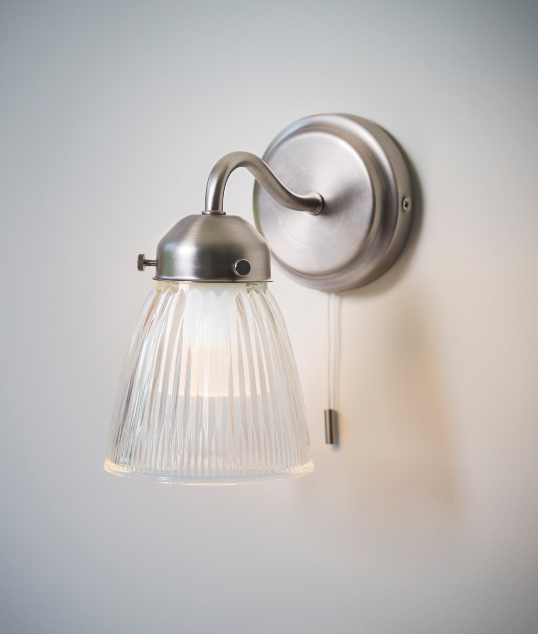 La Parisienne Satin Nickel Bathroom Wall Light With Shade Pull Cord