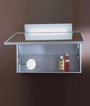 Aluminium Bathroom Cabinet With Lift Up Mirror And Light