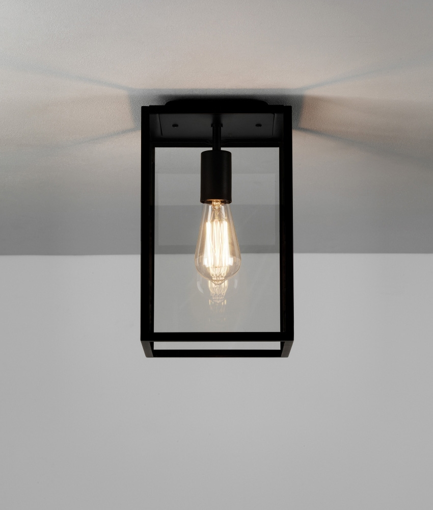 Ceiling Mounted Box Lantern In A Black Finish