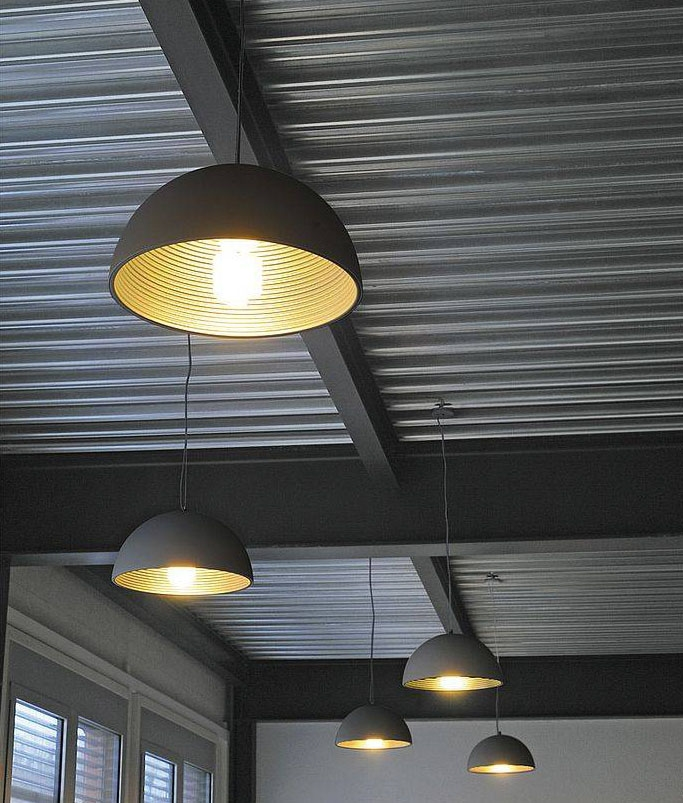 led lighting for kitchen dome pendant with contrasting ribbed interior 6928