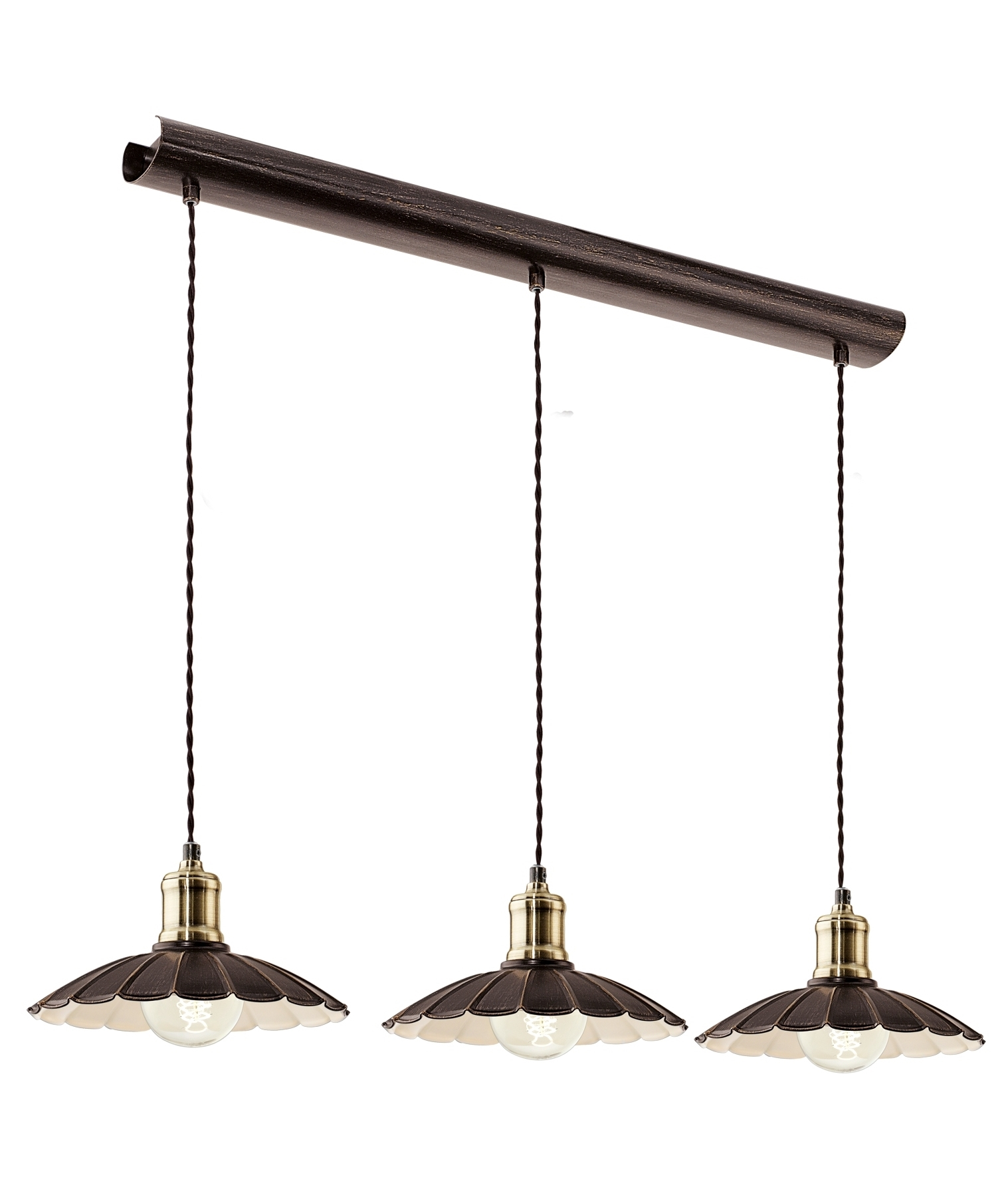 French Style 3 Light Pendants With Scalloped Edges
