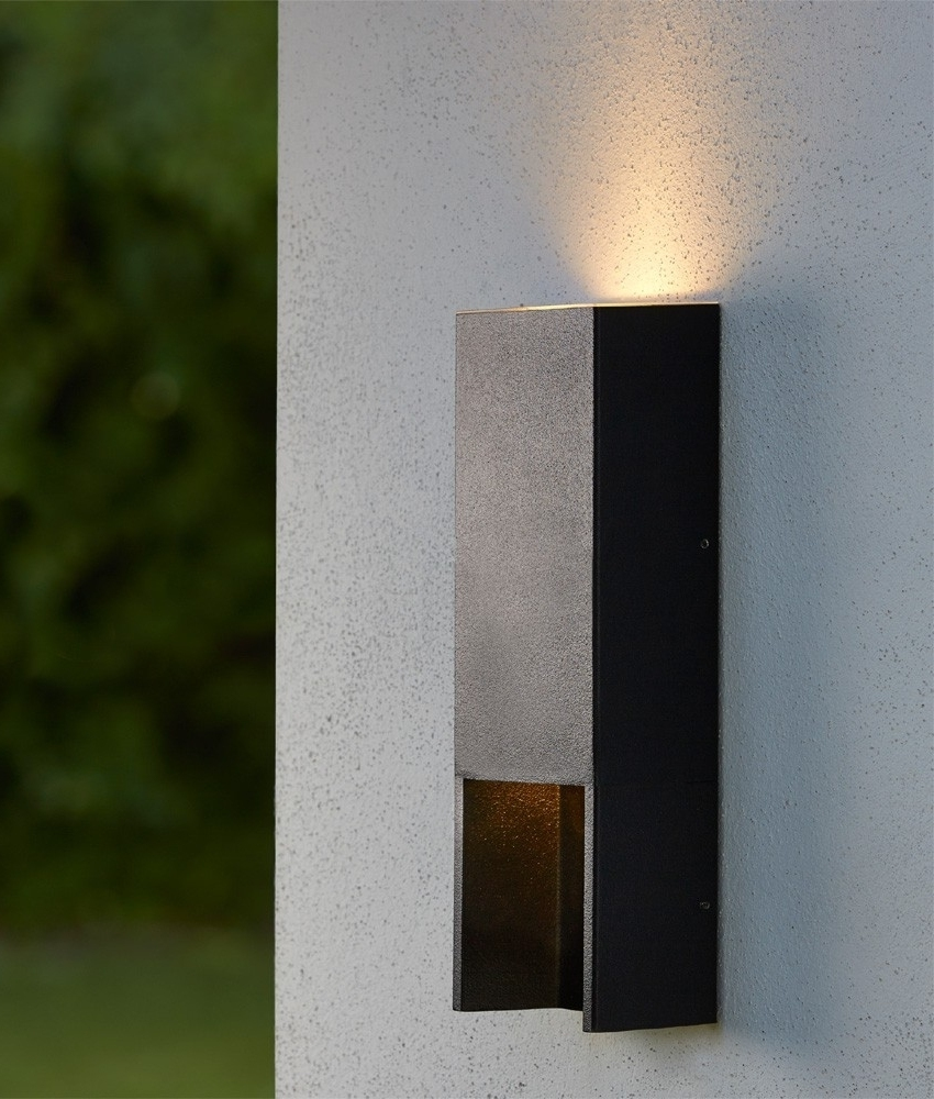 Black rectangular up and down exterior wall light for Exterior up down wall light