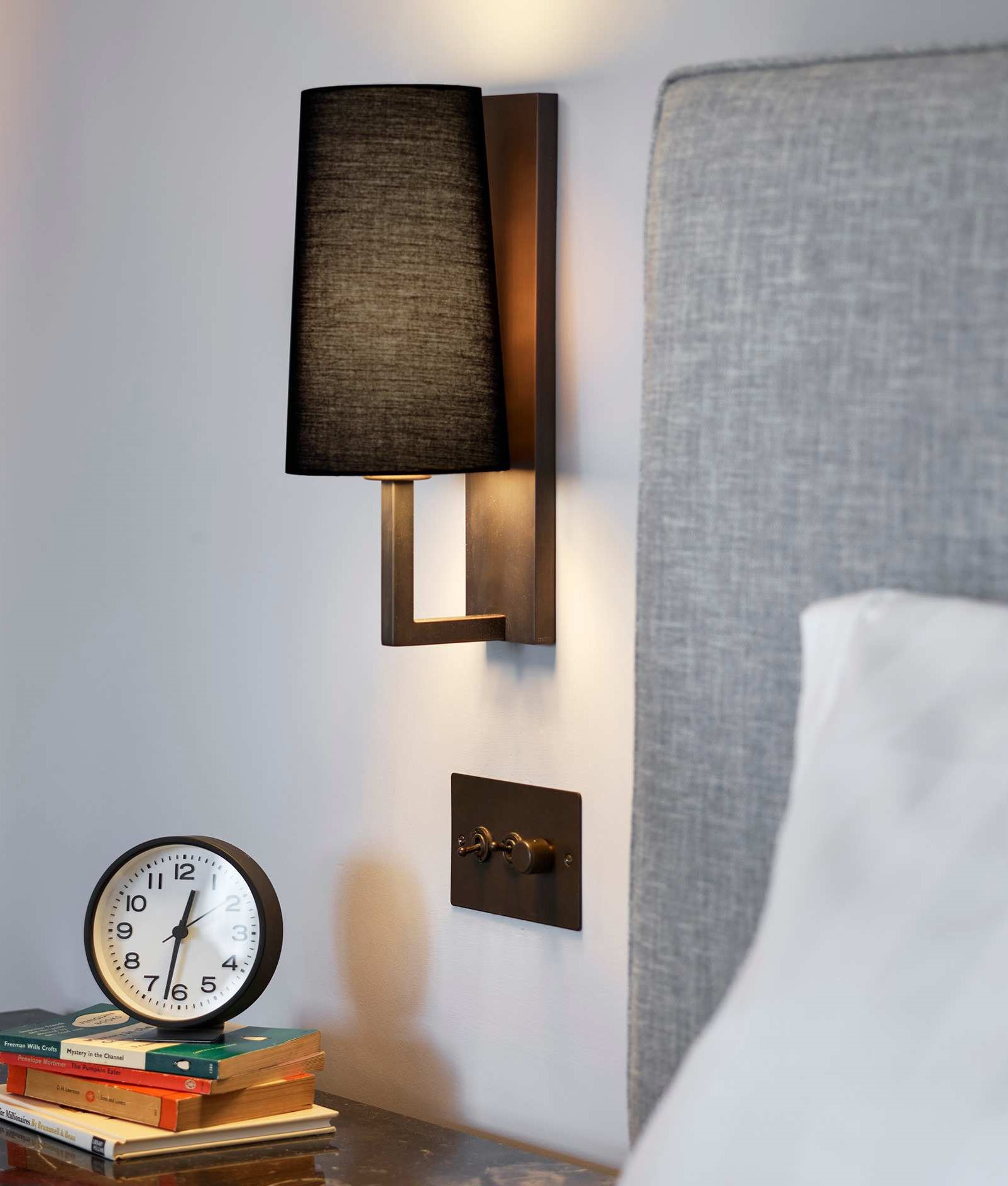 Slim Modern Wall Light And Tapered Fabric Shade Ip44
