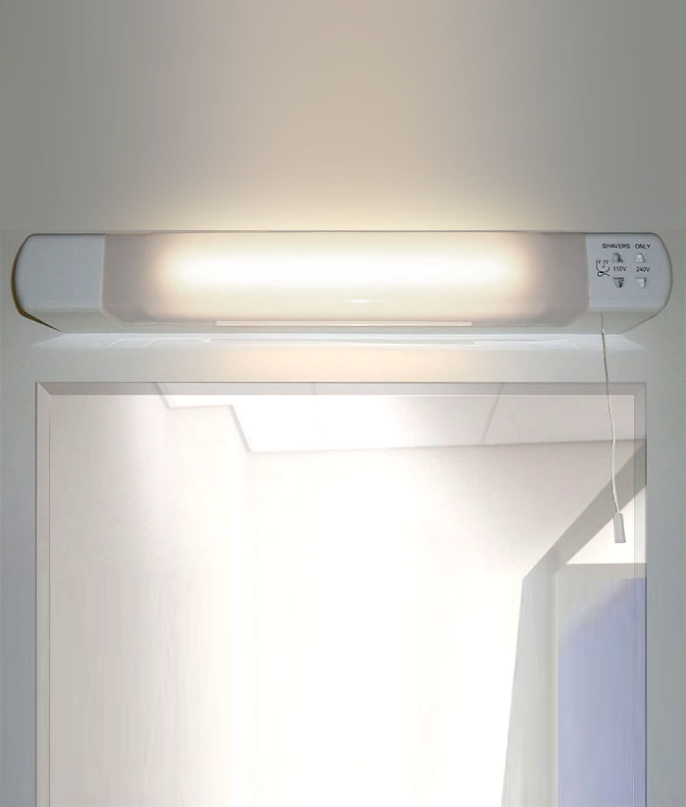 Bathroom Led Shaver Light With 110 And 240v Sockets For