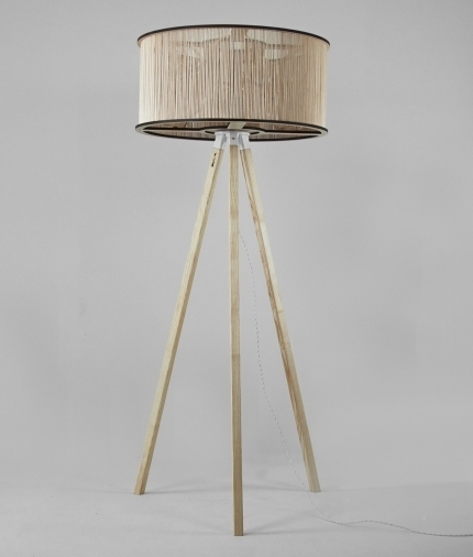 Wooden cage floor lamp by tom raffield with wooden floor