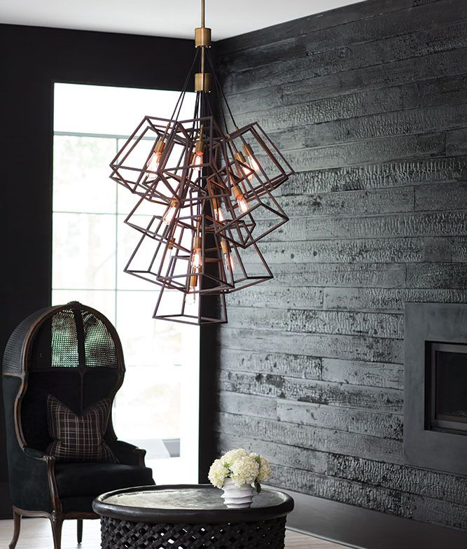 Cascading Metal Box Cluster Pendant Two Sizes