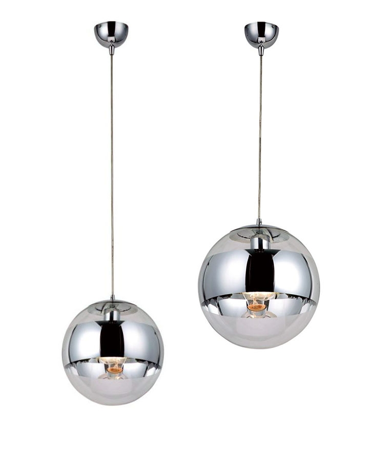 glass ball pendant with chrome band cheaper than tom dixon mirror ball pendants. Black Bedroom Furniture Sets. Home Design Ideas